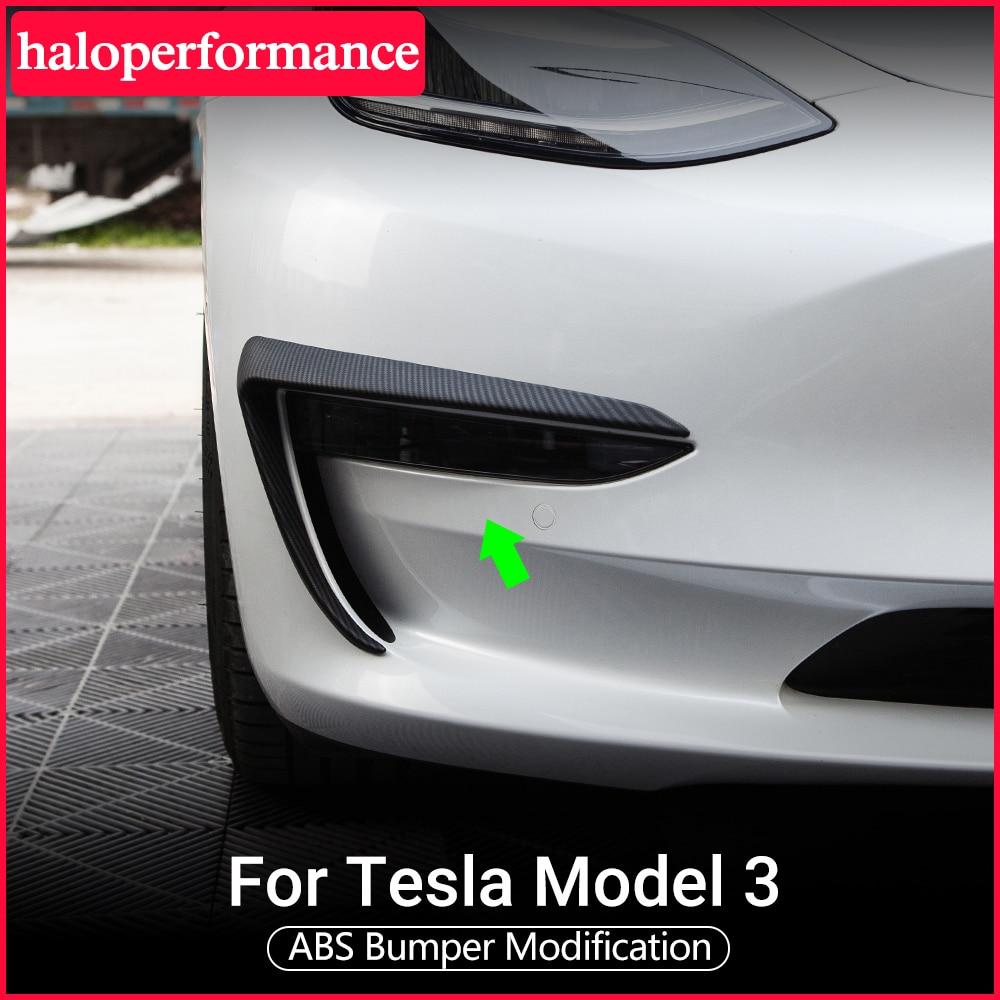 Model3 Tesla Car Front Blade Trim For Tesla Model 3 Accessories ABS Carbon Fiber Black White Car Accessories Tesla Model Three