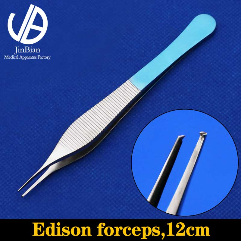 Edison forceps titanium alloy surgical operating instrument 12cm ophthalmic forceps 0.4/0.6/0.8mm pot-bellied tweezers