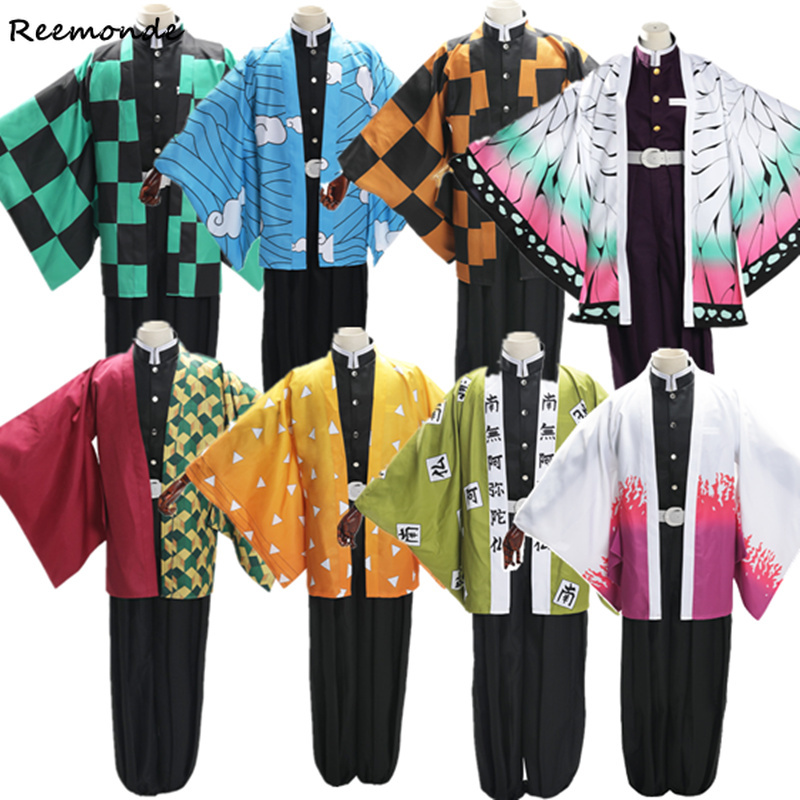 Anime Demon Slayer Cosplay Kamado Tanjirou Kimono Uniforms Costume Kochou Kanae Coat Tomioka Giyuu Agatsuma Zenitsu Kimono Cloak