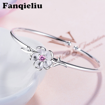 цена Fanqieliu Cute Flower Cherry Charms Bangles Female Retro Crystal Jewelry 2020 925 Sterling Silver Bracelets For Women FQL20096 онлайн в 2017 году