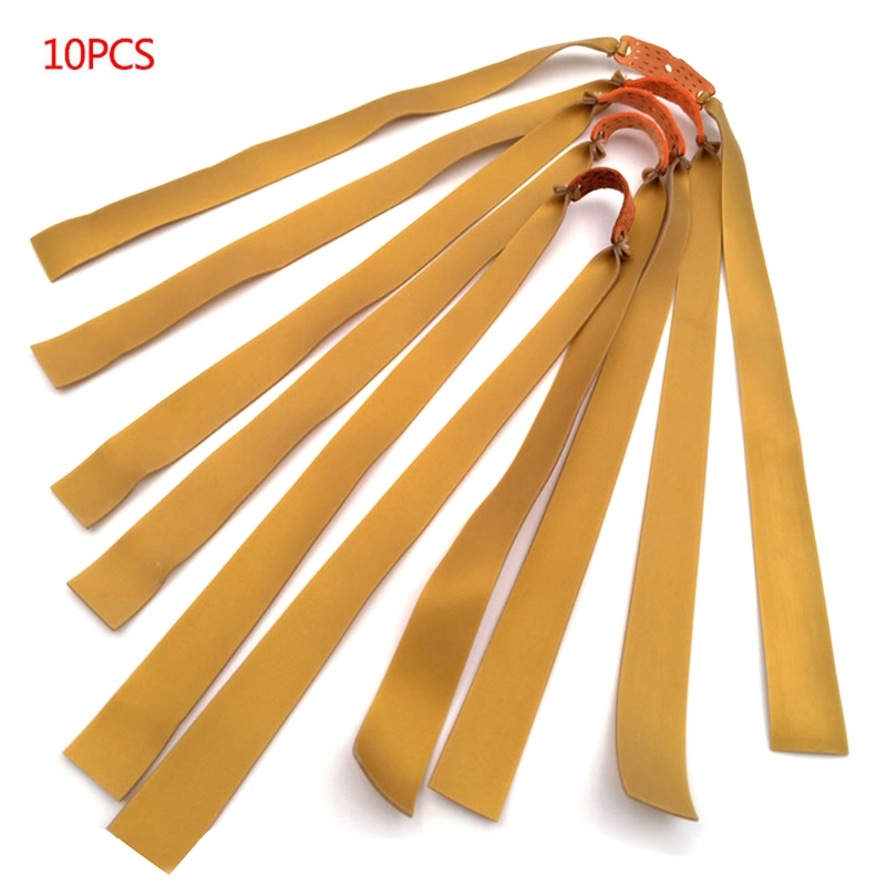 10pcs Hunting Slingshot Powerful Elastic Flat Rubber Band Practical Hunting Sports Natural Latex Catapult Kit Set Outdoor Tools