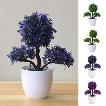 Pequeño árbol de pino de plástico, hogar, planta falsa, hermosa flor de simulación, regalo de moda, decoración de árbol Artificial ligero