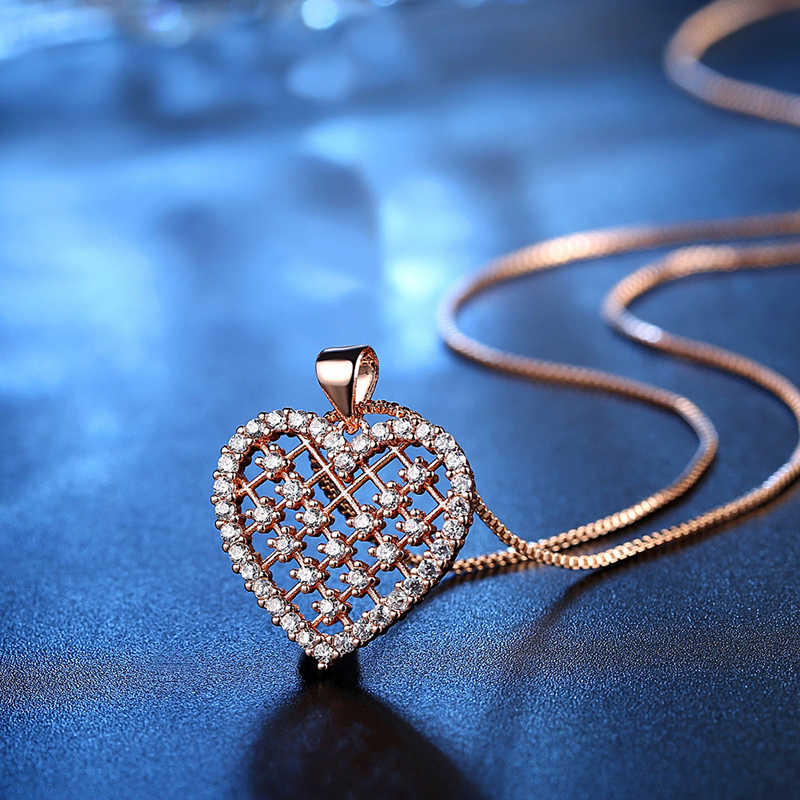 Women Necklace Crystal Pendant Necklace Badminton Mesh Love Heart Shaped Rose Gold Silver Color Shiny Stone CZ Necklace Jewelry