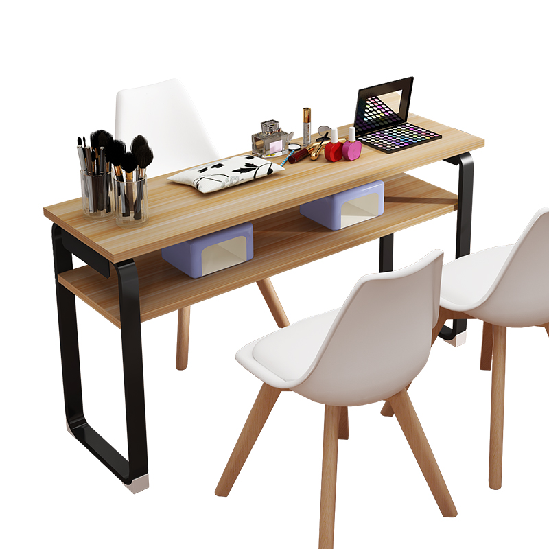 Japanese Style Nail Tables And Chair Set Durable And Waterproof High Density Board Nail Desk With 2 Chairs Salon Furniture