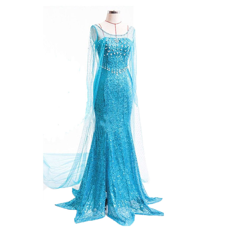 PXJYHCL Frozen Queen Elsa Cosplay Costumes Princess Blue Long Dresses For Girl Sexy Party Vestidos Fantasia Adult Women Clothing
