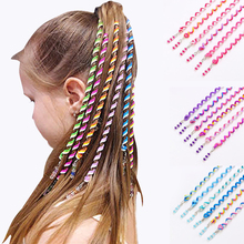 6pcs/lot Rainbow Colorful headband crystal elastic hair ponytail holder accessories Sweet Cool Girls