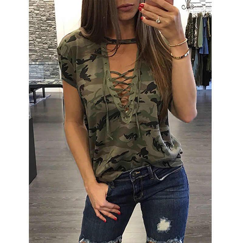Venda quente verão feminino camuflagem impressão verão rendas até v-neck manga curta blusa topo v pescoço bandagem blusa