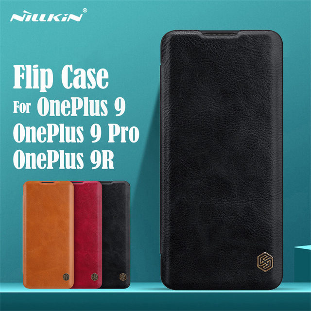 For OnePlus 9 Pro 9R Flip Case Nillkin Qin Leather Flip Cover Card Pocket Wallet Book Case For OnePlus9 One Plus 9 Pro Phone Bag
