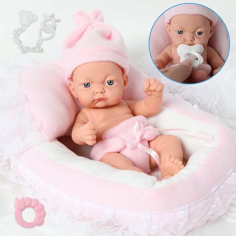 26CM Full Body Silicone Bebe Reborn Dolls 10inch Waterproof Boneca Bath Realistic Premie Newborn Baby Doll For Toys Girl Gift