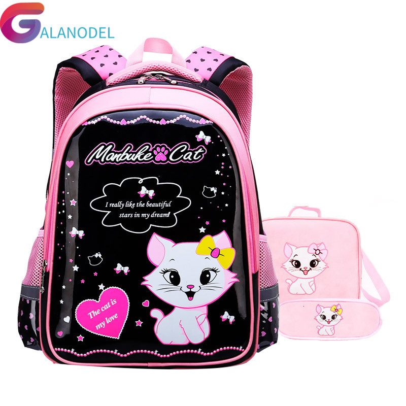Waterproof  Children School Bags Girls Schoolbag Primary Cartoon Cat School Backpack Kids Orthopedic School Backpack Set