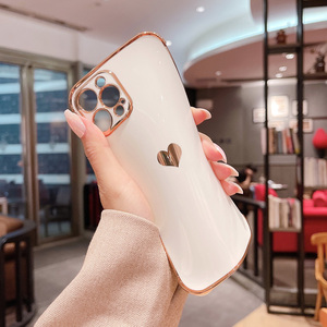 Image 5 - Phone Case For iPhone 12 Mini 11 Pro X XR XS Max 7 8 Plus SE 2 Luxury Cute Side Pattern Electroplated Love Heart Soft TPU Case