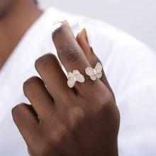 Женское кольцо с бабочкой золотистое/серебристое обручальное