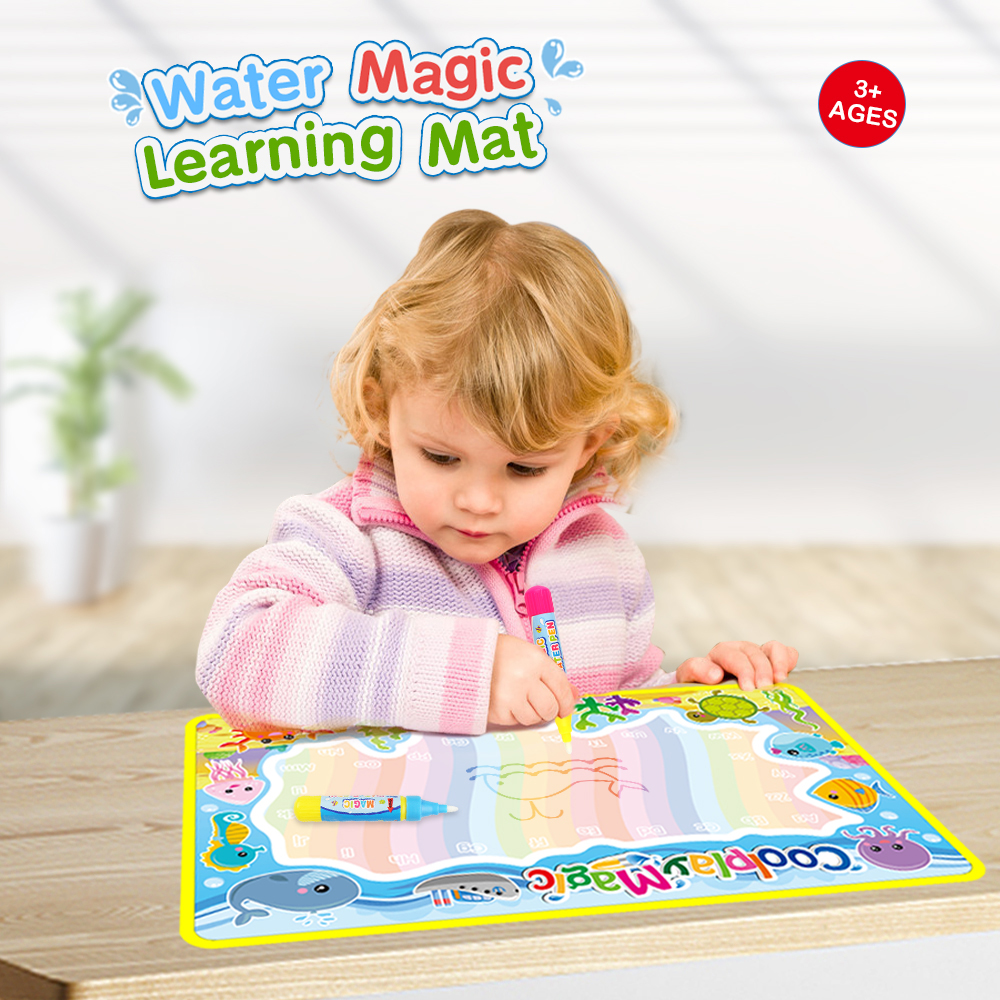 5 Types 59x36cm Rainbow Water Drawing Mat & 2 Pens Water Doodle Mat Coloring Books Water Painting Rug Play Mat Xmas Gift For Kid