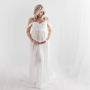 Image 5 - 2020 Fashion Maternity Dress For Photography Sexy Front Split Pregnancy Dresses For Women Maxi Maternity Gown Photo Shoots Props