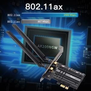 Image 4 - Adaptador WiFi inalámbrico de doble banda, 2,4 Gbps, AX200, Bluetooth 5,1, 802.11ax, tarjeta wifi PCI E de escritorio para tarjeta Wlan de red AX200NGW