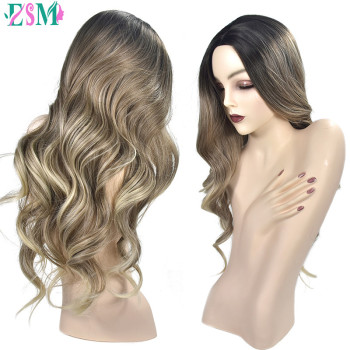 2 Tone Ombre Brown Ash Blonde Temperature Synthetic Wigs For Black/White Women Glueless Wavy Daily/Cosplay Hair Wig wignee 2 tone ombre brown ash blonde synthetic wig for women middle part short straight hair high temperature cosplay hair wigs