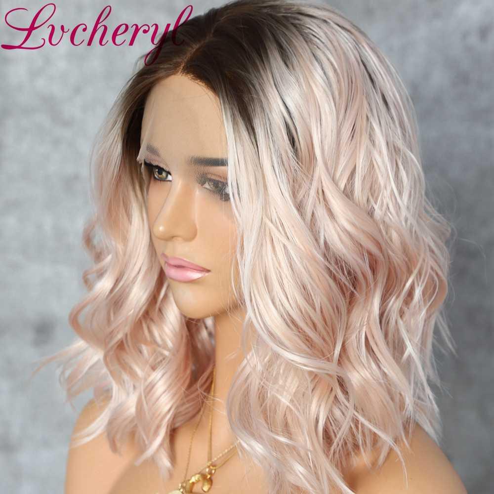Lvcheryl krótki syntetyczne koronki przodu ciemne korzenie naturalnych fala peruki brzoskwinia włosy blond peruki dla kobiet na co dzień