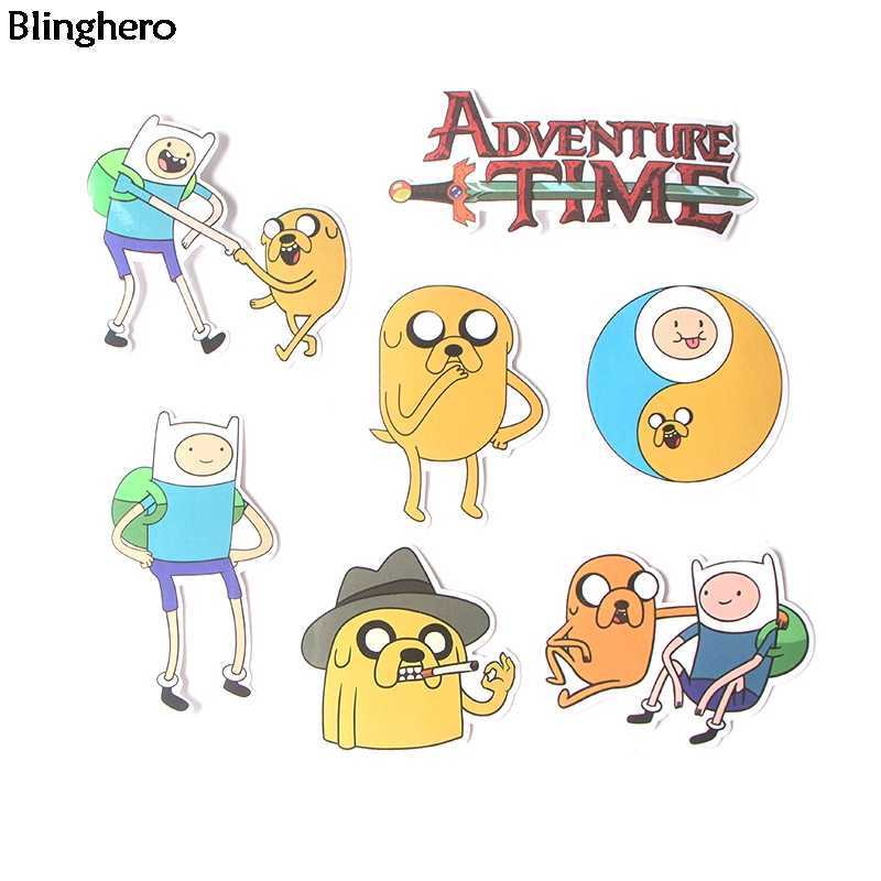 Pegatinas Blinghero Adventure Time 16 unids/set pegatinas de dibujos animados pegatinas decorativas para pared calcomanías lindas mejor regalo para amigos BH0116