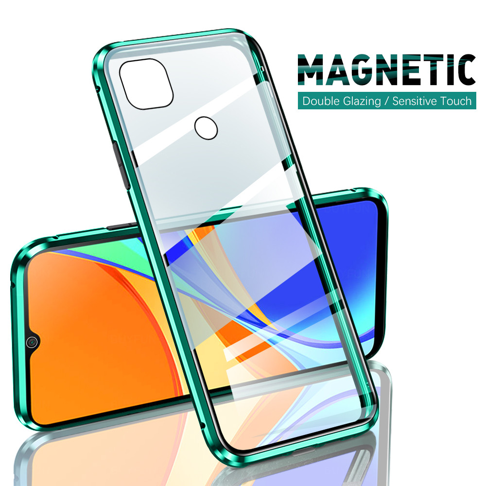 Магнитный чехол с откидной крышкой на 360 ° для Xiaomi Redmi 9C Redmi9c Xiomi Redmy Readmi Redme 9 c двухсторонний стеклянный чехол для телефона защитный чехол