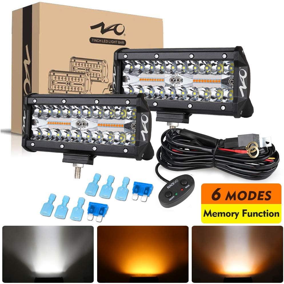 Naoevo 7 polegada led barra offroad luz de trabalho 2 cores 6 modos âmbar branco 12v 24v iluminação nevoeiro para suv atv utv caminhão barco acessórios