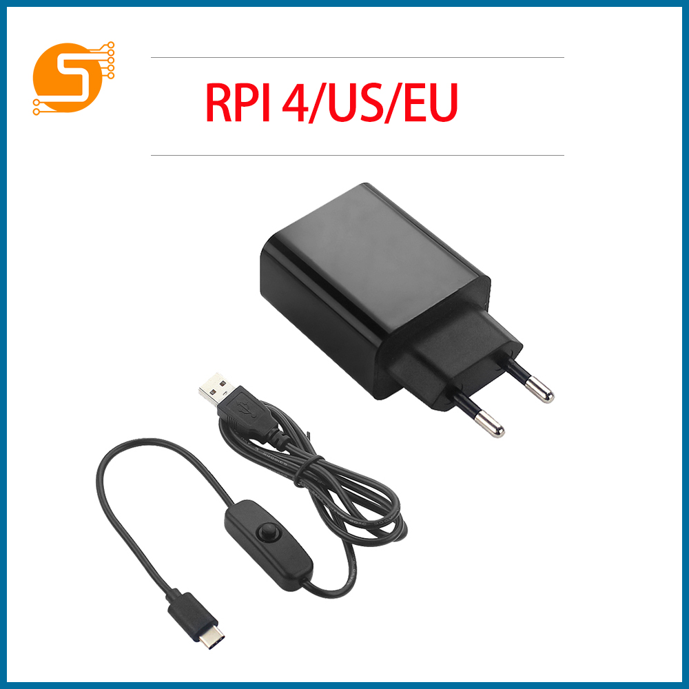 S ROBOT Raspberry Pi 4 B Power Adapter 5V 3A Power Supply EU EU Plug 1M Switch USB Cable Power Cord For Raspberry Pi 4 RPI170