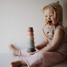 Brinquedos do bebê 13 24 meses montessori empilhando copos brinquedo da criança meninos pilha copo brinquedos de banho educativos para crianças 1 ano de idade presente