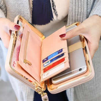 2019 Women Wallet Long Leather Purse Hasp Purses with Strap Phone Card Holders Big Capacity Ladies Wallets Clutch Female Bag - DISCOUNT ITEM  58% OFF All Category