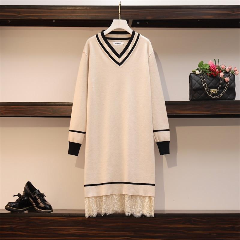 Patchwork Lace Sweater Dresses Women's Long Sleeve V Neck Mini Straight Ladies High Street Autumn Knitting Dresses Plus Size 1