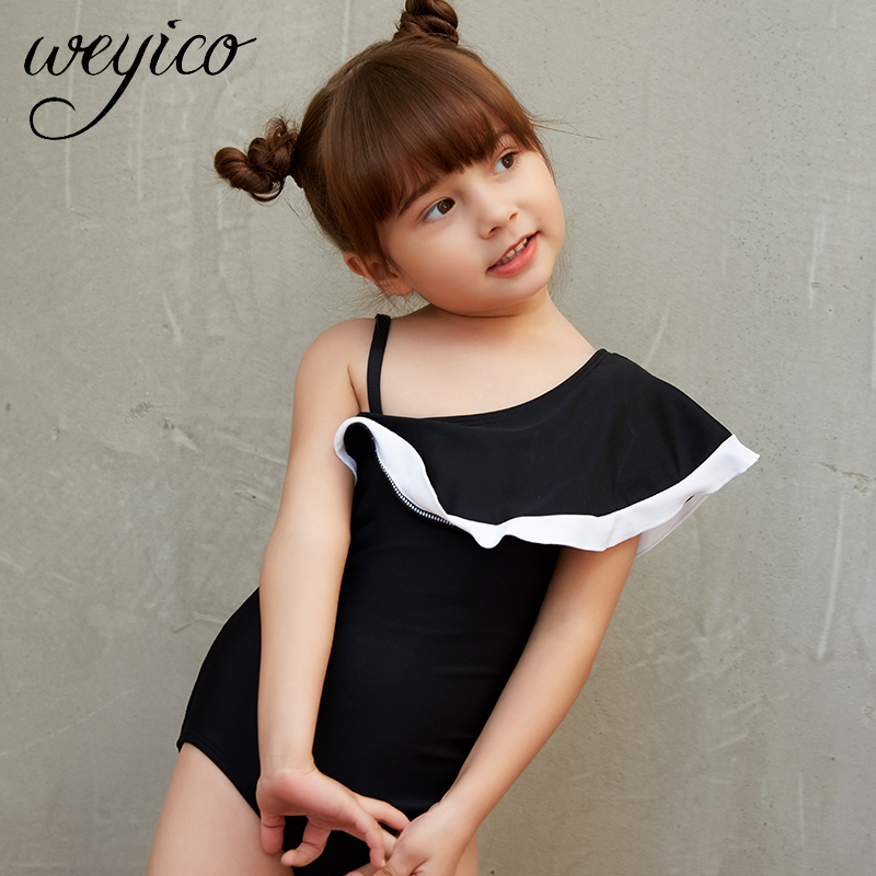 Kids Swimwear One Piece 2020 New Baby Girl's Swimming Suits Flounce One Shoulder Bodysuits Child Bathing Suit Monokini Swimsuit
