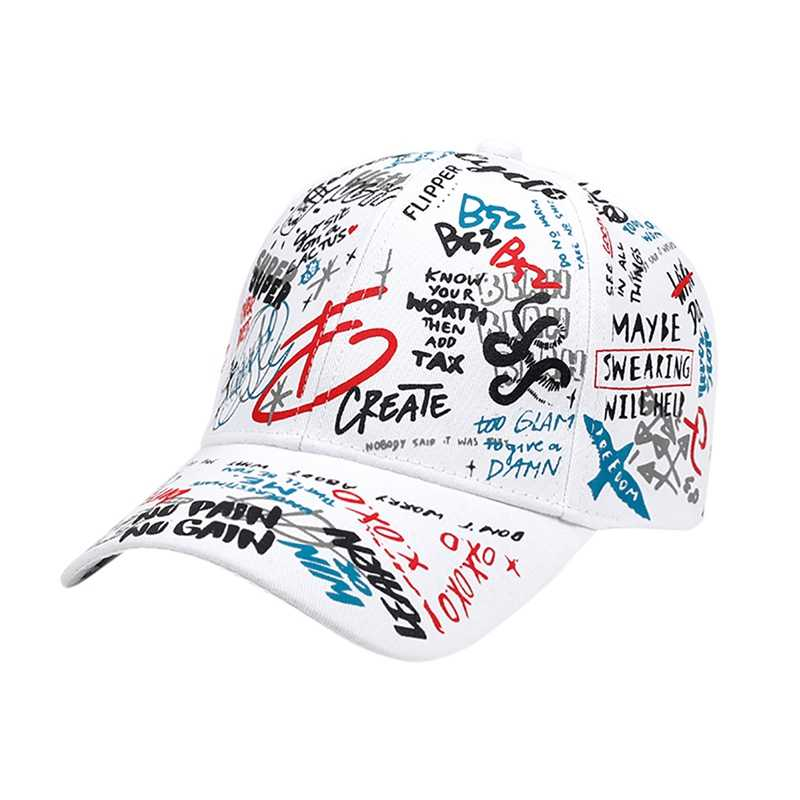 Unisex Colorful Graffiti Printed Baseball Cap Polyester Cotton Hat Headwear With Adjustable Back Closure