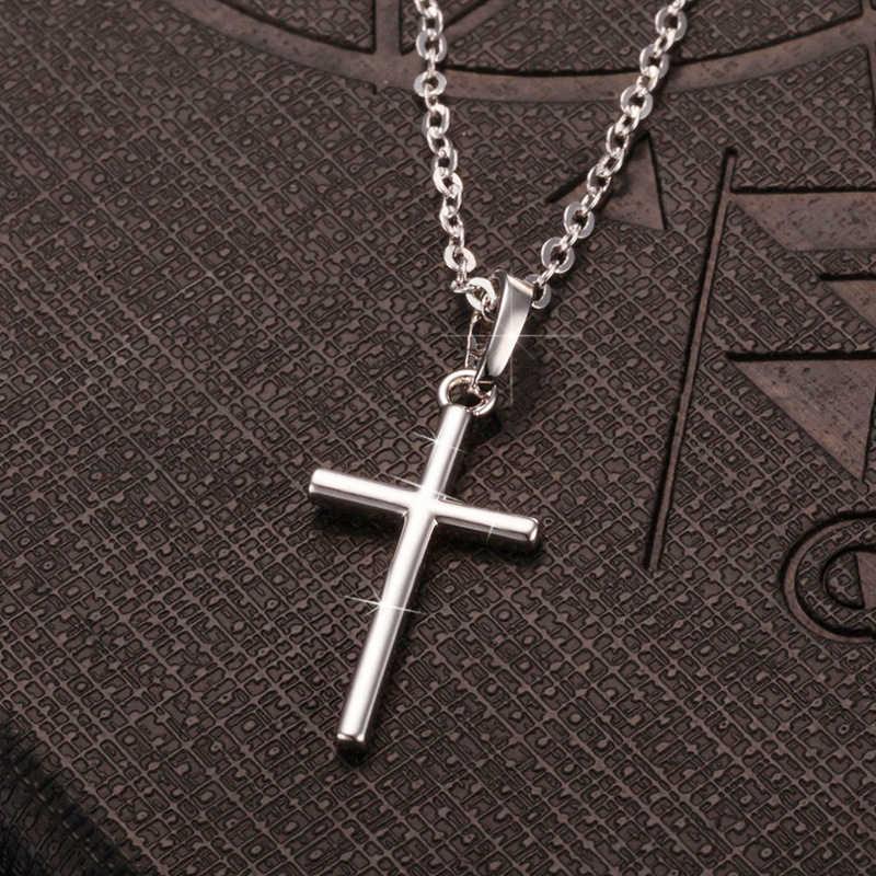 بسيط موضة الصليب سلسلة قلادة للنساء الرجال الفاخرة السيدات الذهب دلاية مجوهرات القلائد الصليب المسيحية حلية هدايا