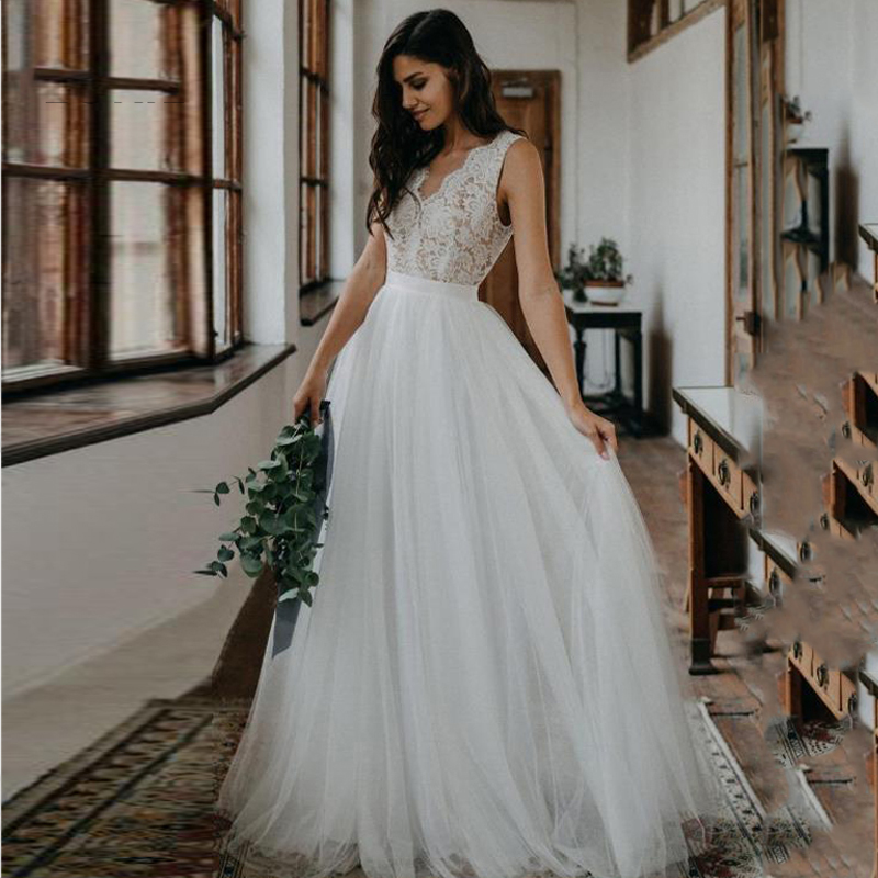 Eightree A Line Wedding Dress Lace Tulle Backless Wedding Gowns Appliques Bridal Dress Sleeveless Princess Wedding Dresses Boho