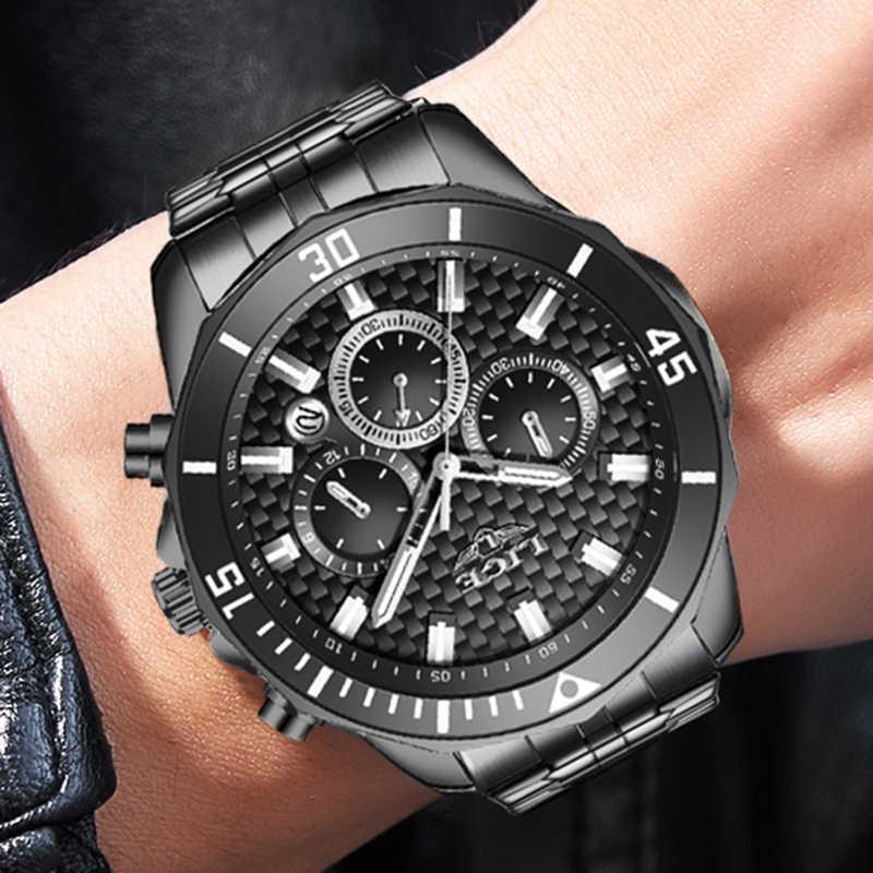 2020 Luik Heren Horloge Mode Nieuwe Zwarte Rvs Sport Waterdichte Horloges Voor Mannen Luxe Merk Multifunctionele Chronograaf