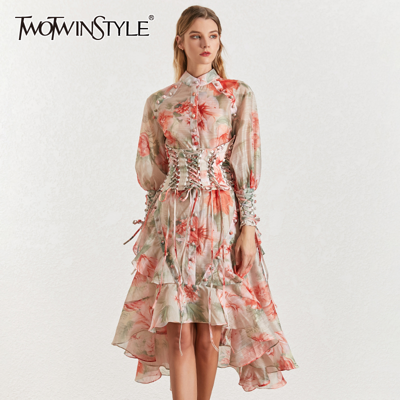 Image 1 - TWOTINSTYLE Vintage Print Women's Dress Stand Collar Lantern Sleeves Bandages High Waist Asymmetrical Print Dresses Female 2019-in Dresses from Women's Clothing
