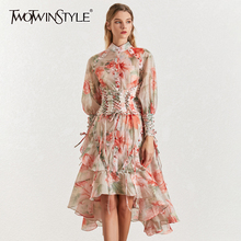 TWOTINSTYLE Vintage Print Women's Dress Stand Collar Lantern Sleeves Bandages High Waist Asymmetrical Print Dresses Female 2019 цена