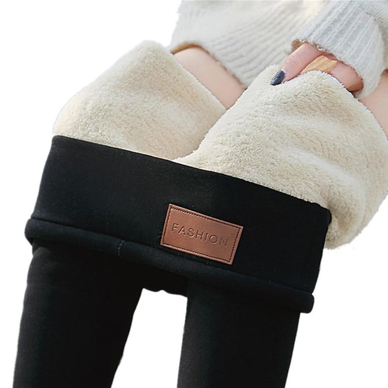 Thick Fleece Leggings Warm Winter Legging For Women Thermal Leggins High Waist Thermo Pants Black Plus Size 3XL