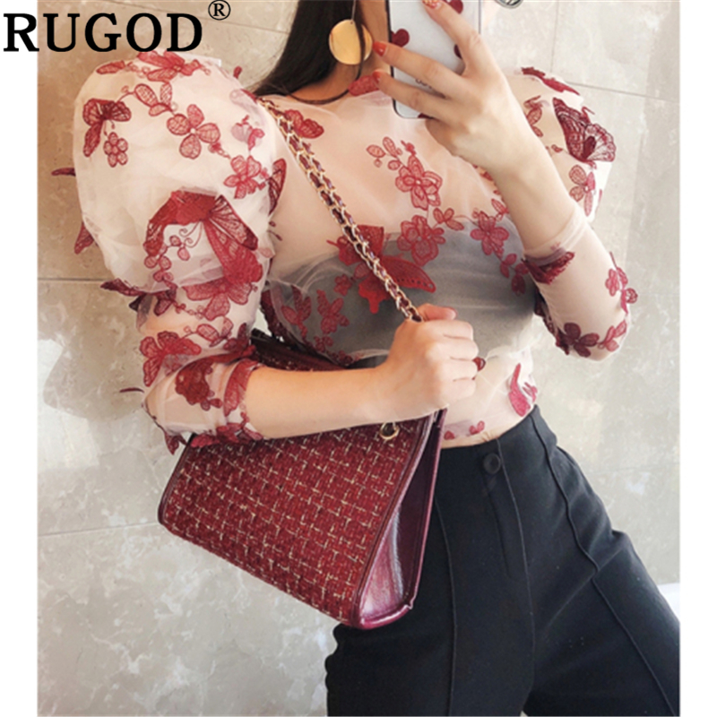 RUGOD Elegant Lace Mesh Perspective Women Blouse Fashion Puff  Sleeve Butterfly Printed Party Shirts Female 2020 Spring New Tops