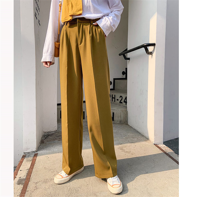 HziriP Korea Autumn High Waist Slender Straight Casual Office Lady Slimming Solid Stylish Brief Leisure Loose All-Match Trousers