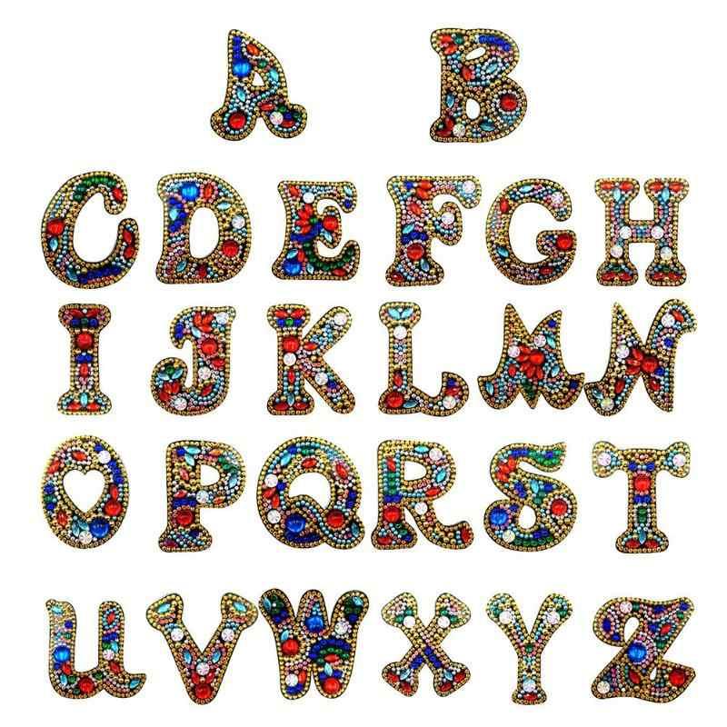 A-Z DIY Keychain יהלומי ציור מכתבי נשים ילדה תיק Keyring תליון מתנה מיוחד בצורת תרגיל מלא רקמת צלב סטיץ