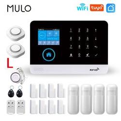 MULO PG103 Wifi Alarm System Burglar Security with Smoke Detector Gas Detectors Smart Life app Control Wireless Alarm Kits