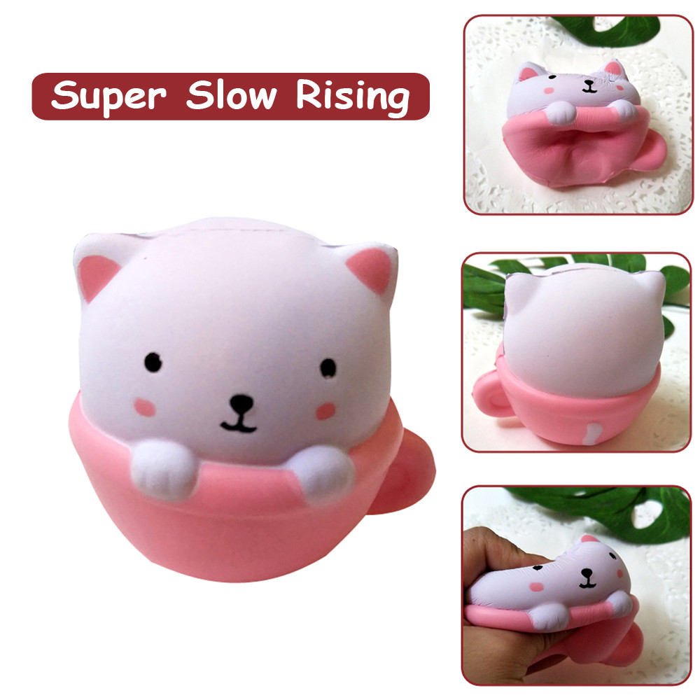 Fun Cup Cat Decompression Slow Rebound Toy Squeeze Toy Adorable Cat Slow Rising Cream Scented Stress Relief Toys L0110