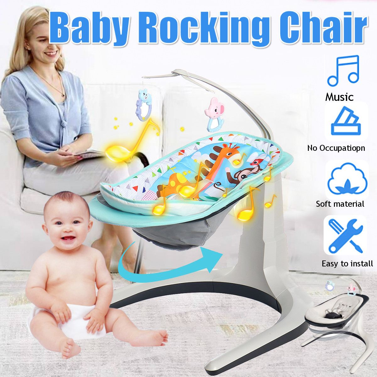 2 in 1 Newborn Gift Multi function Music Electric Swing Chair Infant Baby Rocking Chair Comfort Home v5 VC