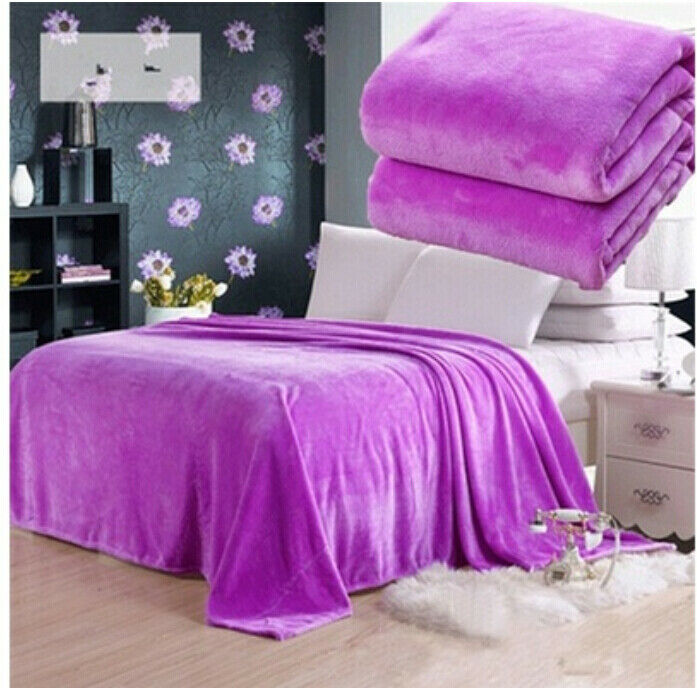New Fashion Small Super Warm Solid Warm Micro Plush Fleece Blanket Throw Rug Sofa Bedding