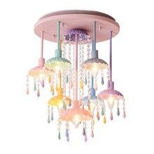 Creative simple macaron crystal children's room ceiling lamp girl bedroom restaurant warm princess room lights