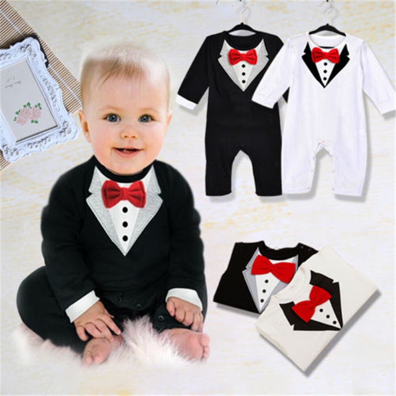 0-36months Cute Baby Boys Rompers Long Sleeve Bow Tie Baby Boys Jumpsuit Black White Gentleman Formal Newborn Clothes Playsuit