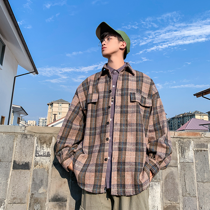 Thick Plaid Shirt Men's Fashion Casual Long-sleeved Shirt Men Retro Woolen Jacket Mens Streetwear Loose Woolen Coat Male Outwear
