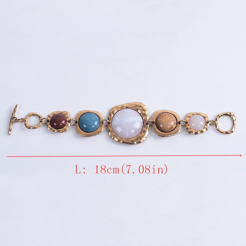Bohème ethnique Bracelets femmes Za contraste métal creux pierre Bracelets femme Vintage Statment amitié Bracelets pour femme 5
