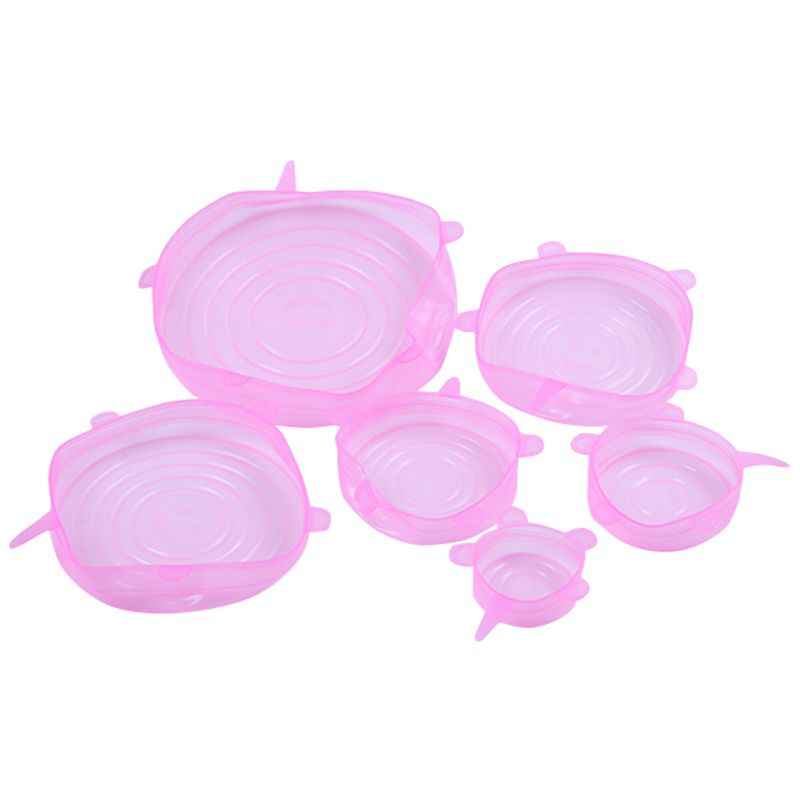 Hot Koop 6 Stuks Silicone Stretch Deksels Verse Voedsel Wraps Kom Cup Pot Cover Seal Herbruikbare