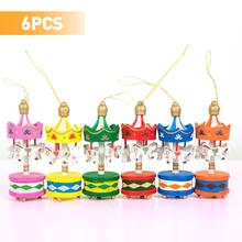 6Pcs Decor New Year Tree Christmas Carousel Decoration Wooden Home Xmas Pendant Gift For Kid