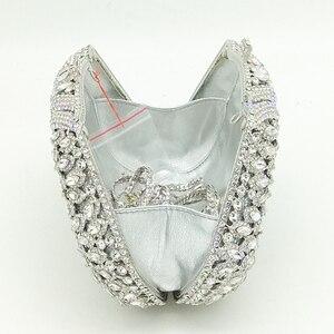 Image 5 - Женский Блестящий клатч Boutique De FGG, серебристая сумочка со стразами, вечерняя сумочка для свадебной вечеринки, металлическая сумочка для невесты